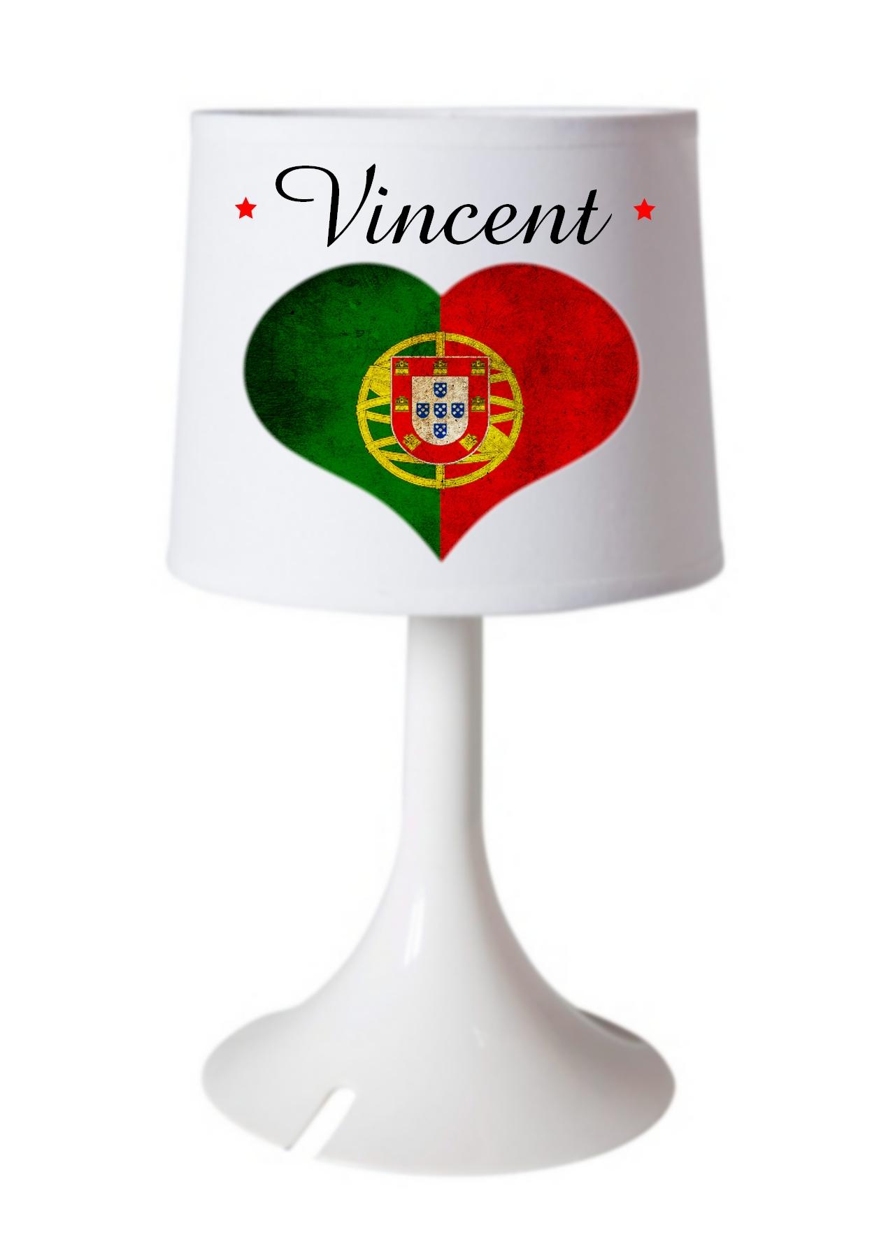 Drapeau Personnalisée Lampe Chevet Prénom Portugal De Ou Bureau Avec tQxrdCshB