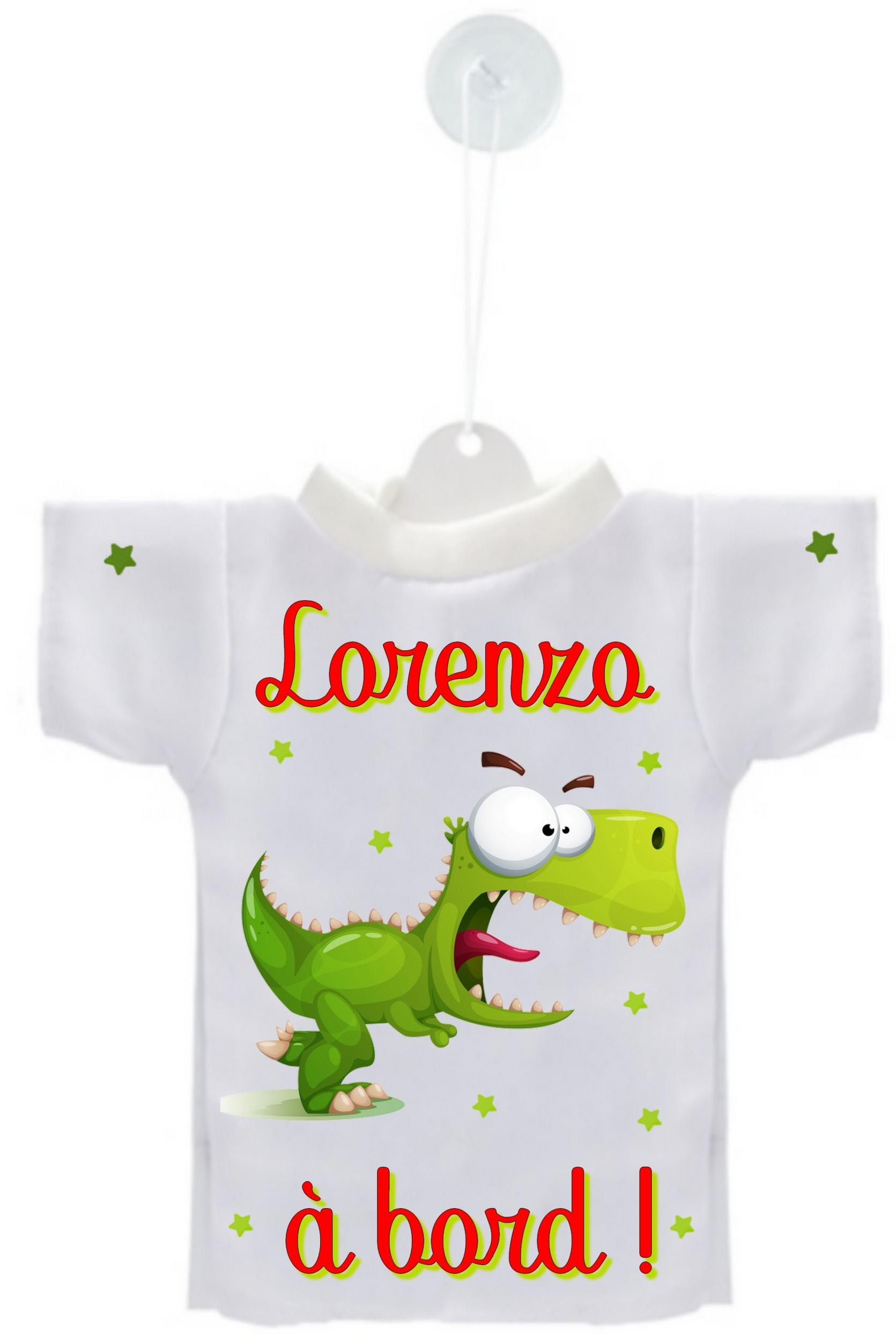 4a15ce8650333 Mini tee shirt voiture Bébé à bord Dino rigolo personnalisé avec prénom