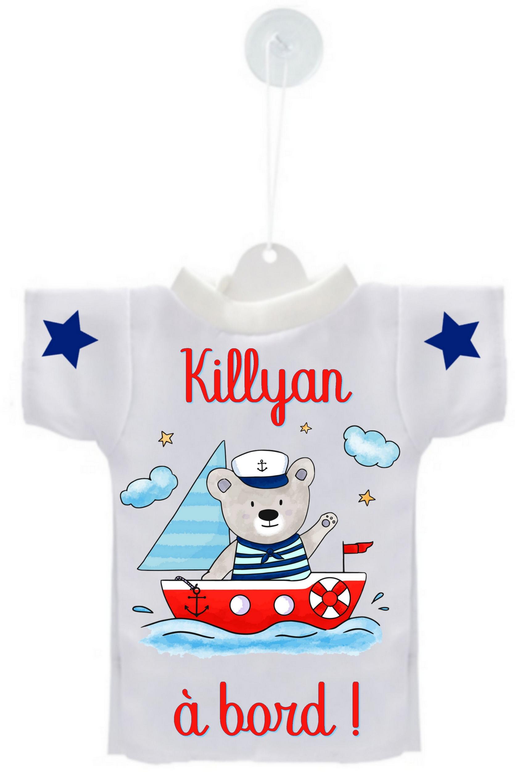 a17a47b504774 Mini tee shirt voiture Bébé à bord Ourson marin personnalisé avec prénom