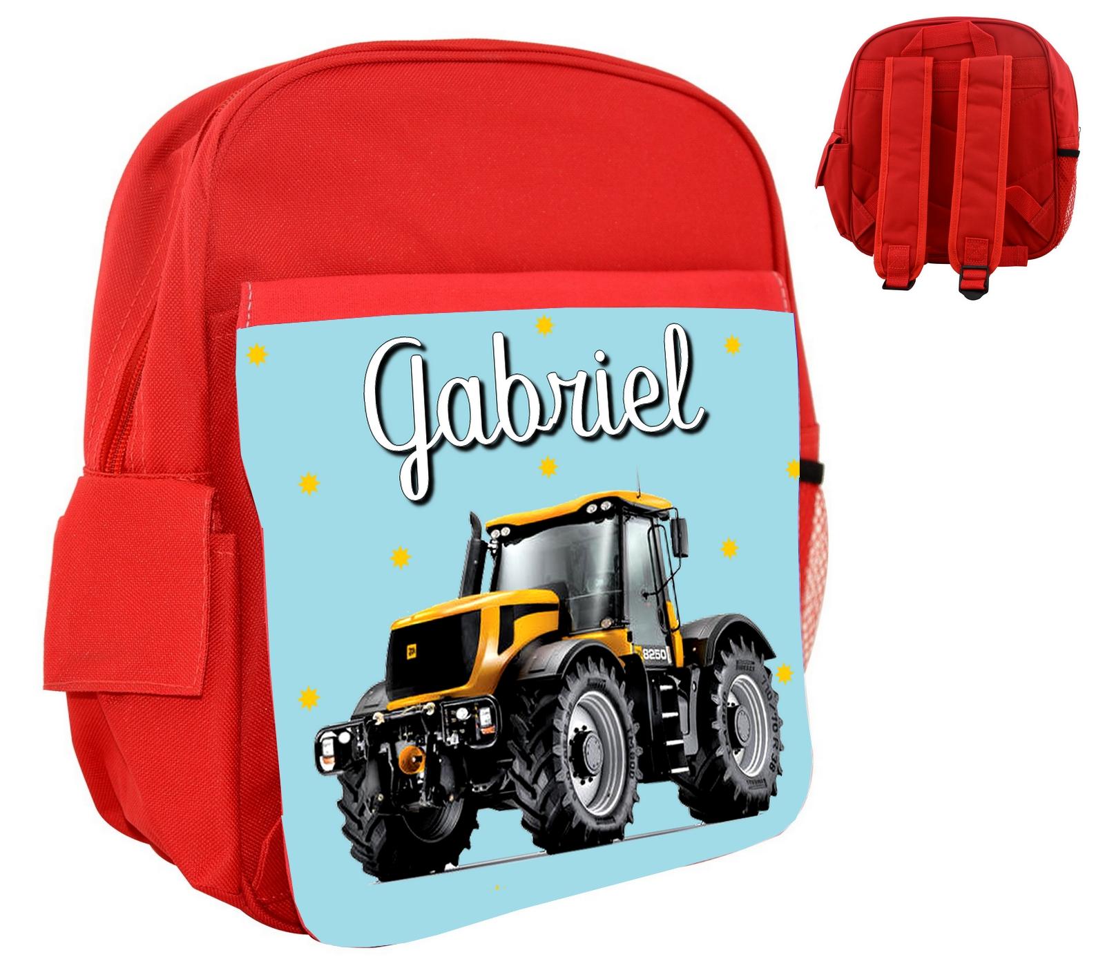 Personnalisé Sac À Rosebleurouge Enfant Tracteur Prénom Dos Avec Y6gIfybm7v