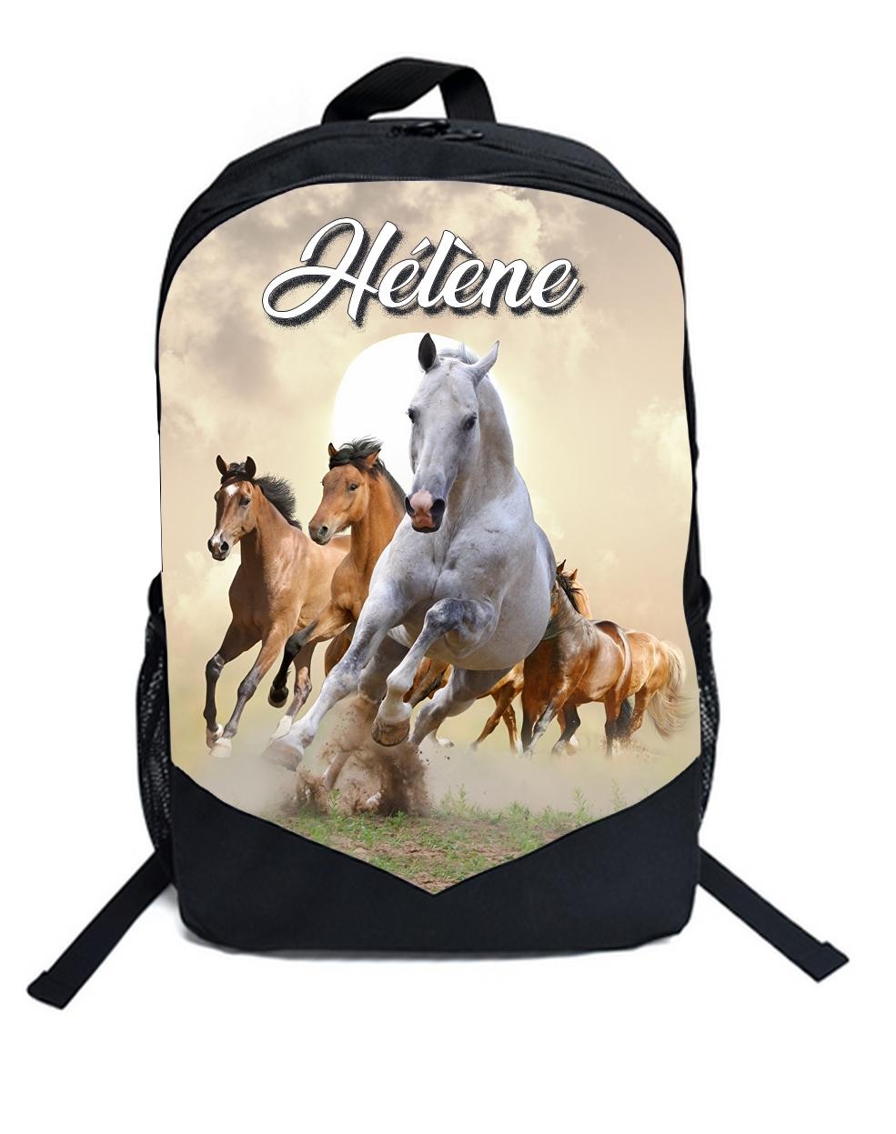 4e108f28cc Cartable Sac à dos Cheval chevaux personnalisé avec prénom - Sac à ...