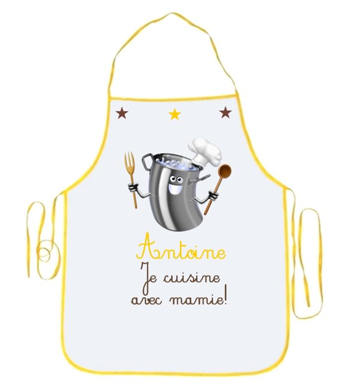 papier électronique prix Tablier enfant Je cuisine avec mamie personnalisé avec prénom