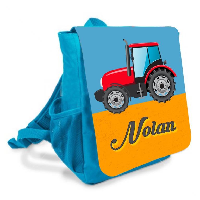 sac à dos enfant tracteur prénom