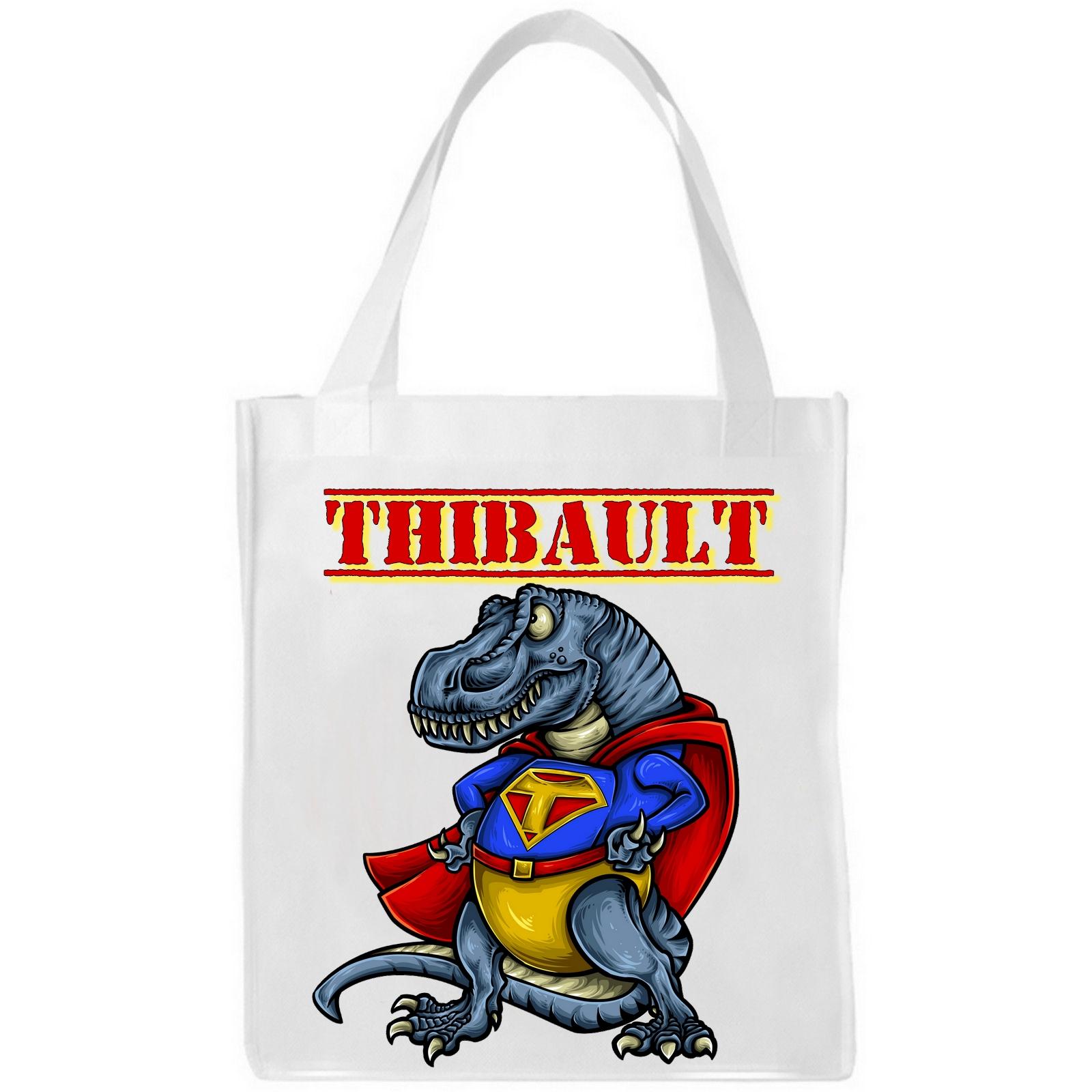 sac cabas dinosaure  personnalisé prénom