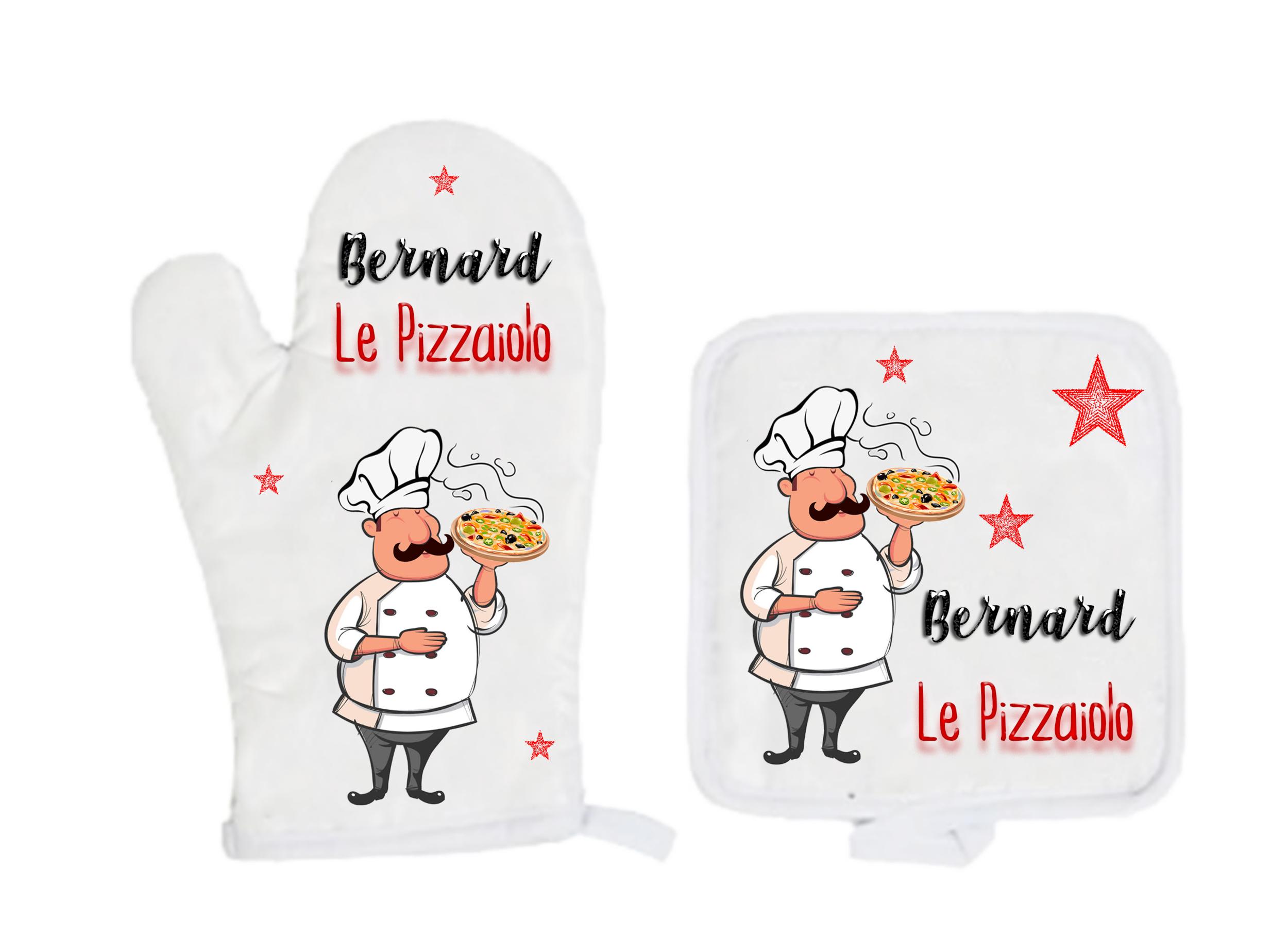Tablier de cuisine Pizza Pizzaiolo personnalisé avec prénom