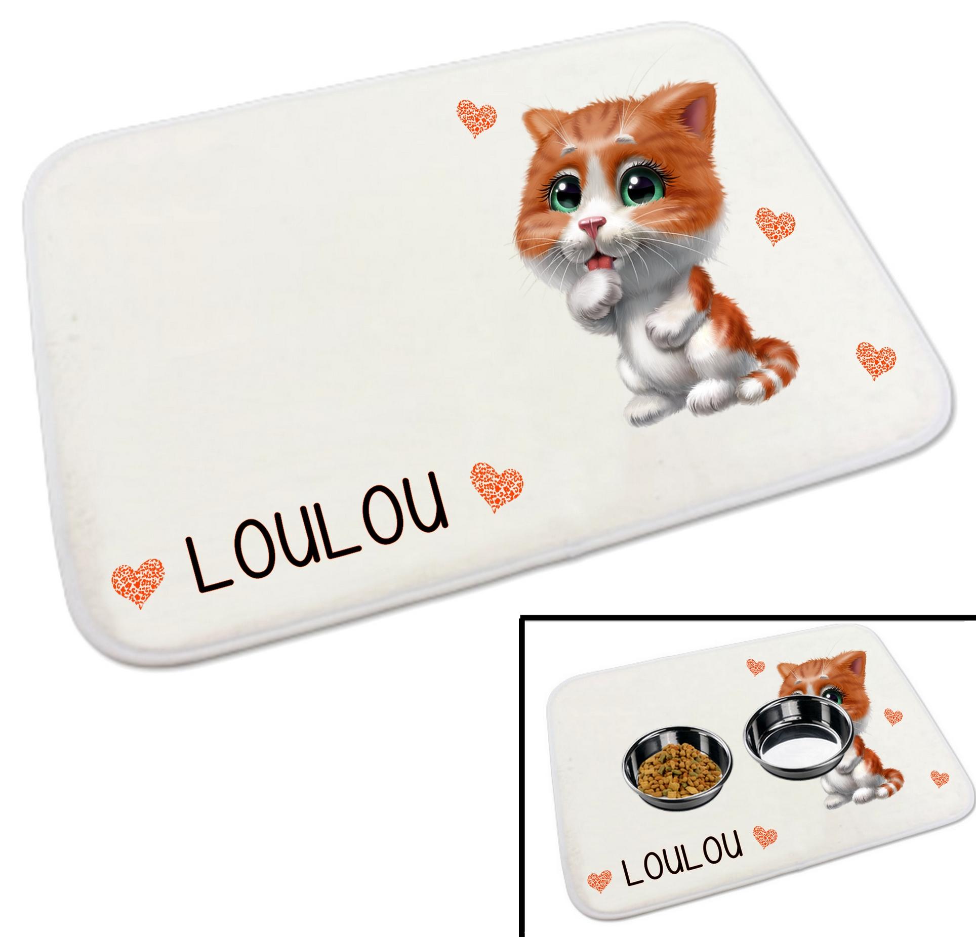 tapis gamelle pour chat personnalise avec le nom de votre animal