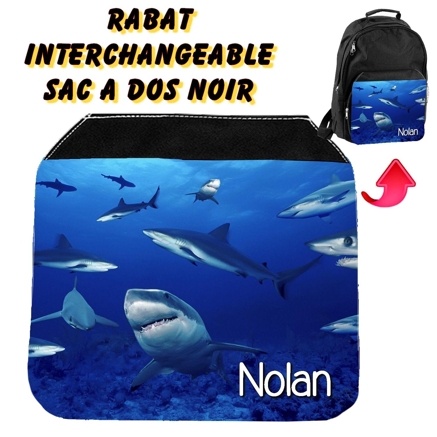 Rabat interchangeable Requin personnalisé avec prénom