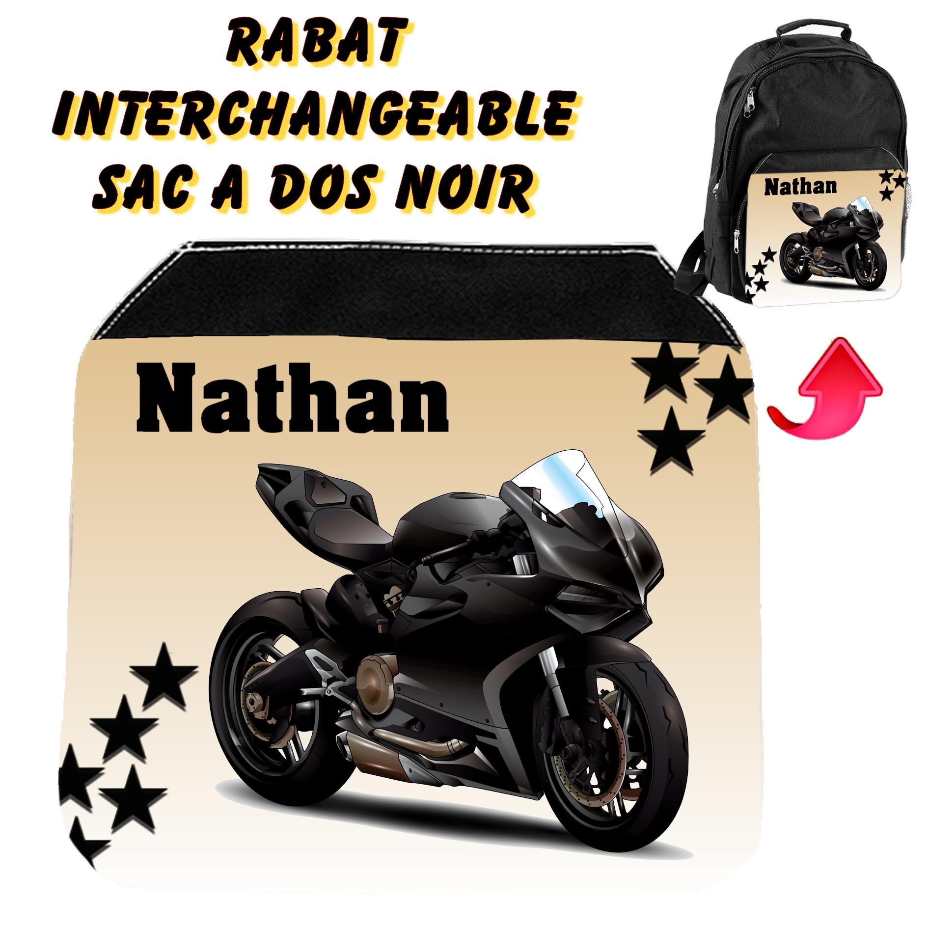 Rabat interchangeable Moto personnalisé avec prénom