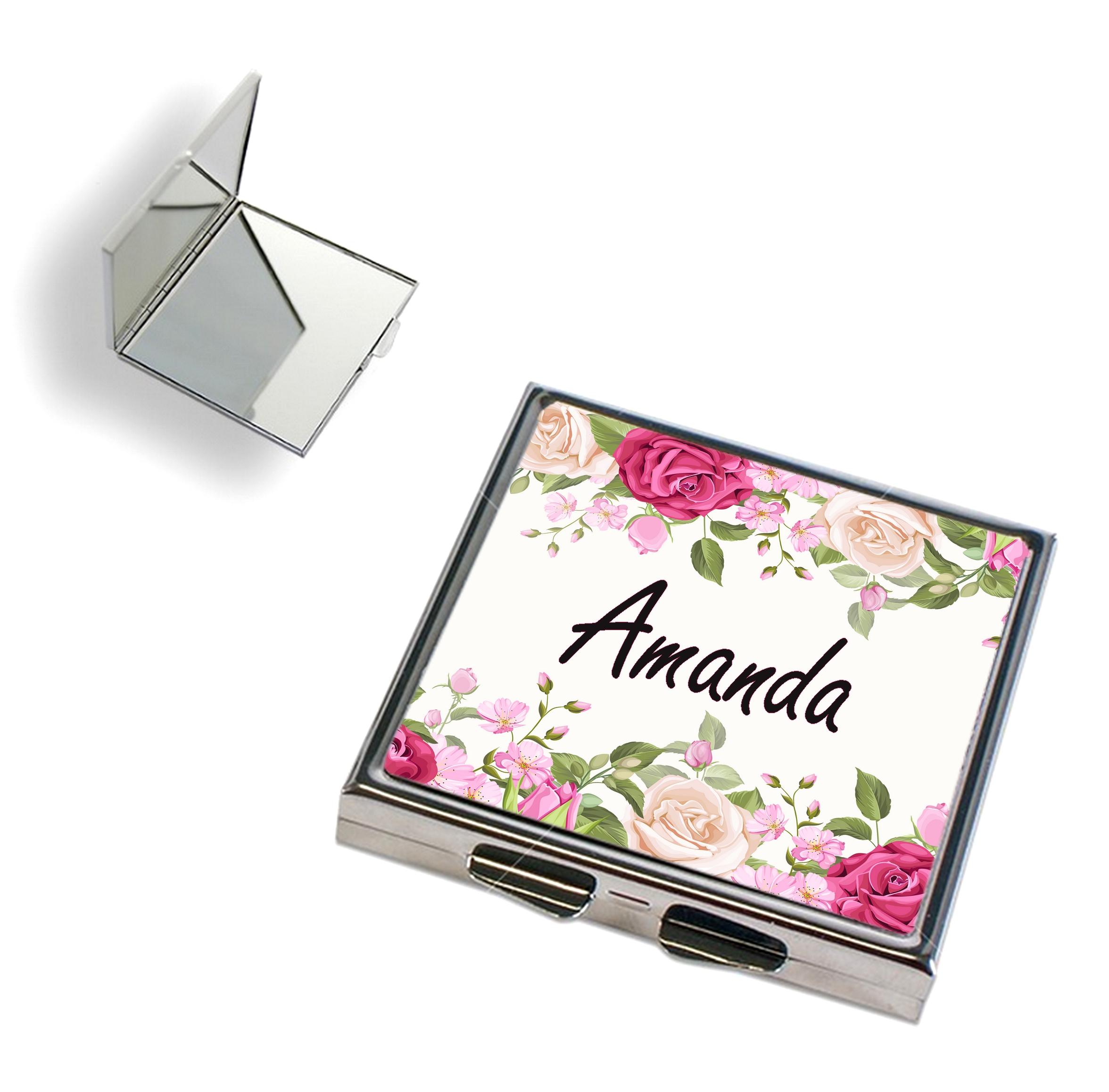 Miroir de poche Fleurs personnalisé avec prénom