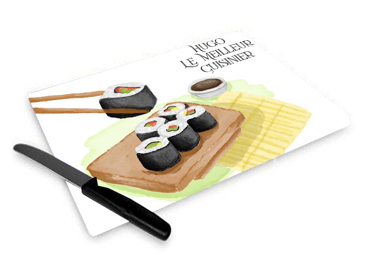 Planche à découper Sushis personnalisée avec votre texte
