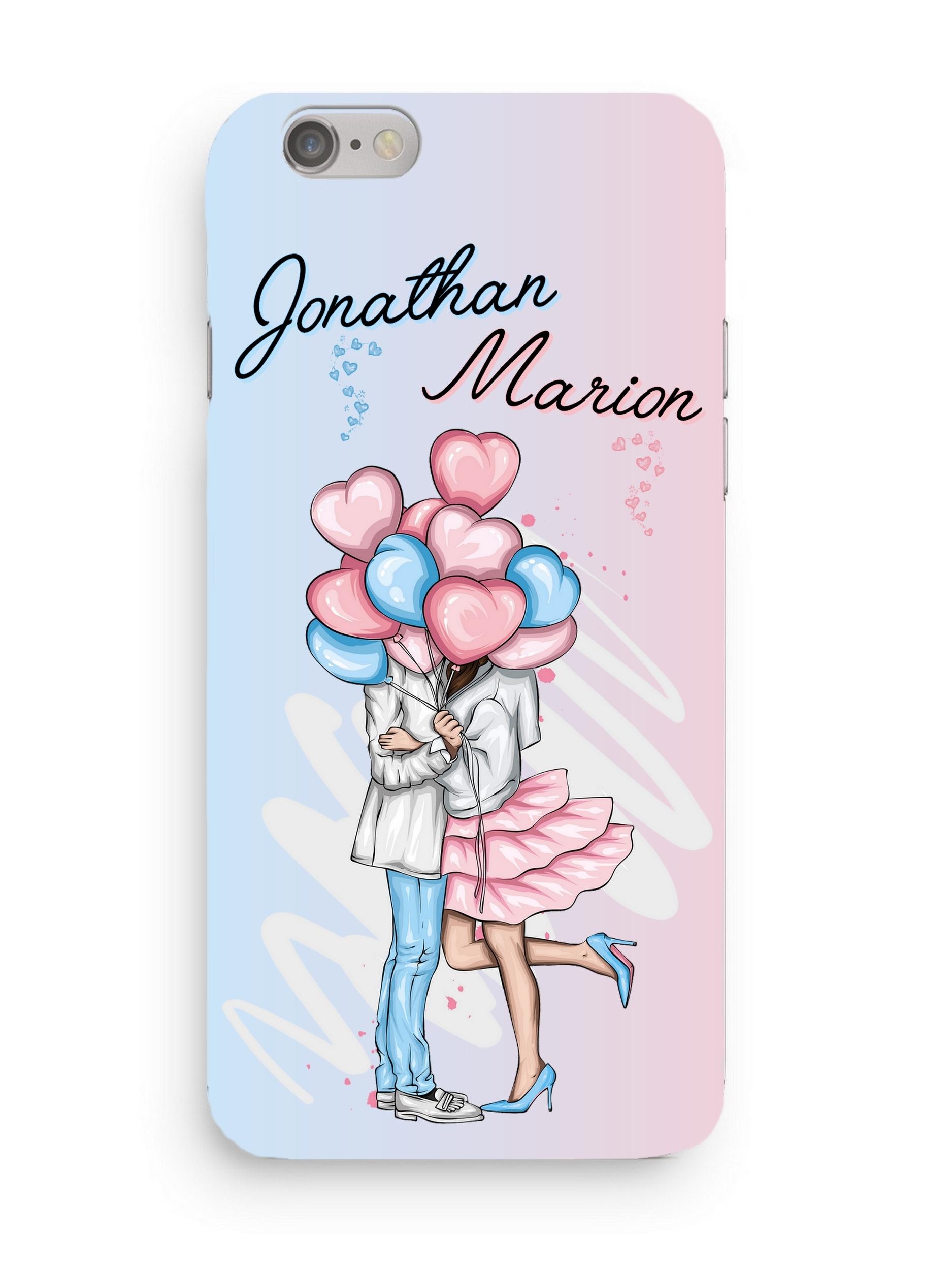 Coque Amoureux Couple 3D Iphone 5/6/7/8/X/XR/XS personnalisée avec prénoms
