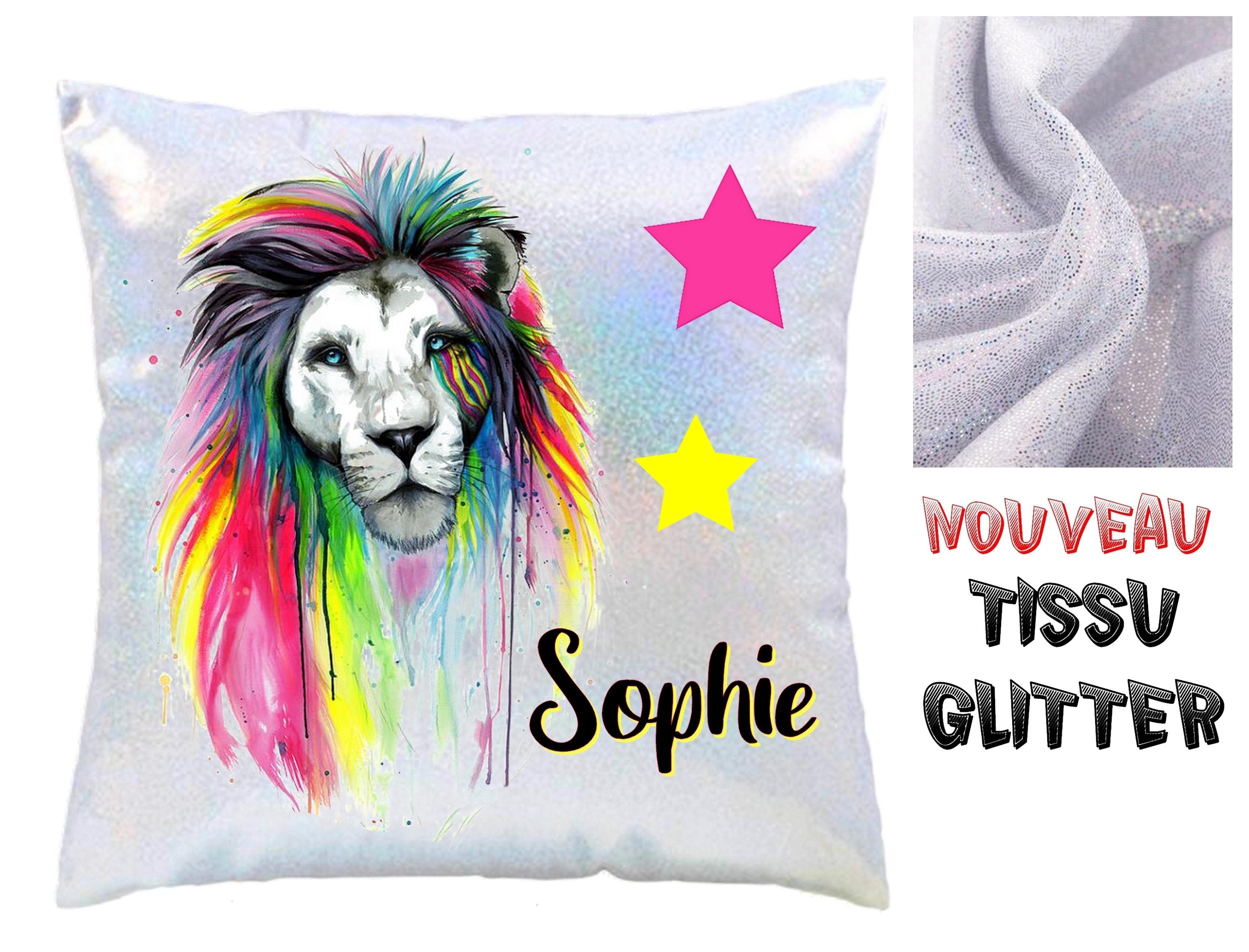 Coussin Glitter Lion personnalisé avec prénom