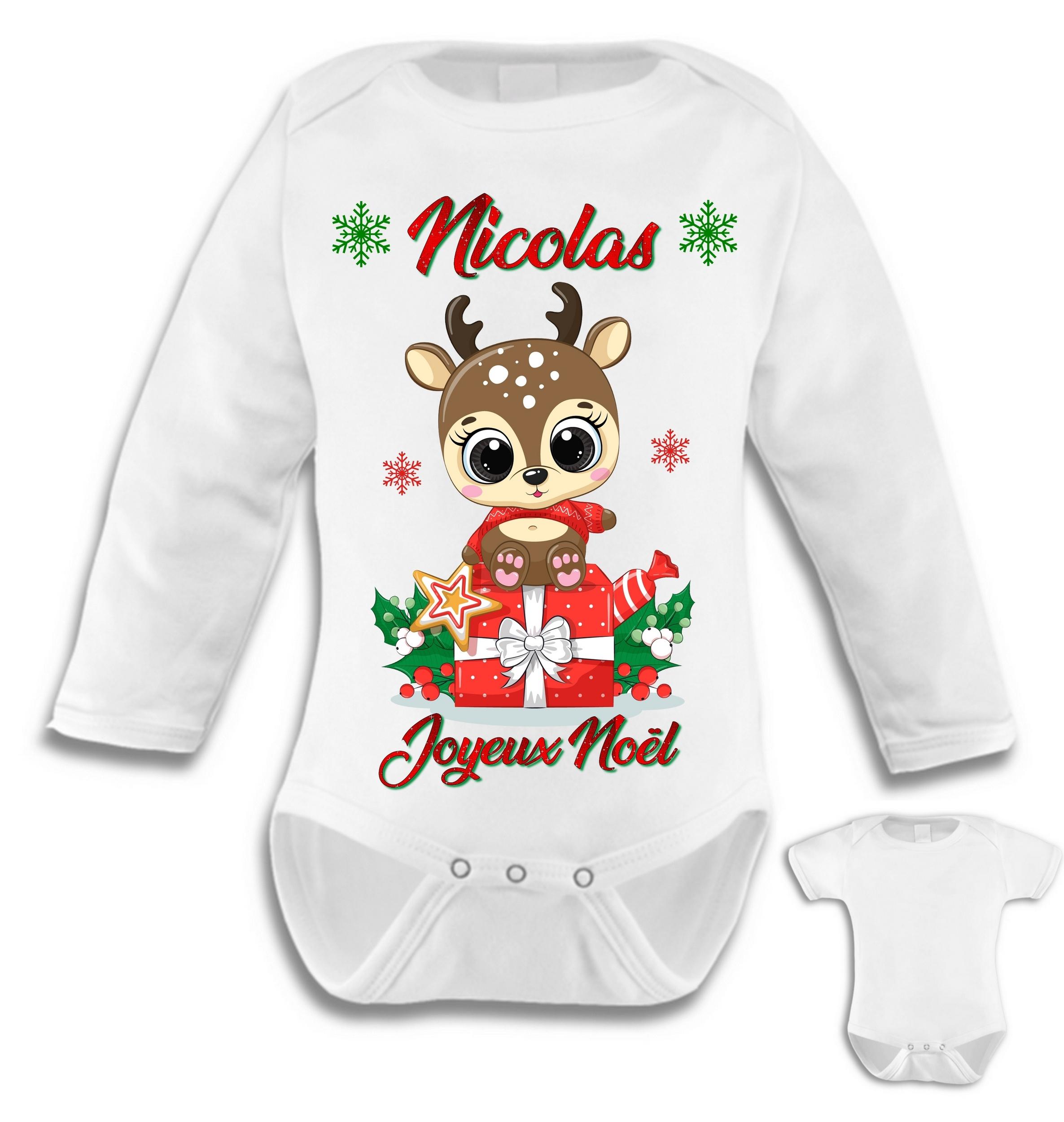 Body bébé Le premier Noel noël Personnalisé avec prénom au choix