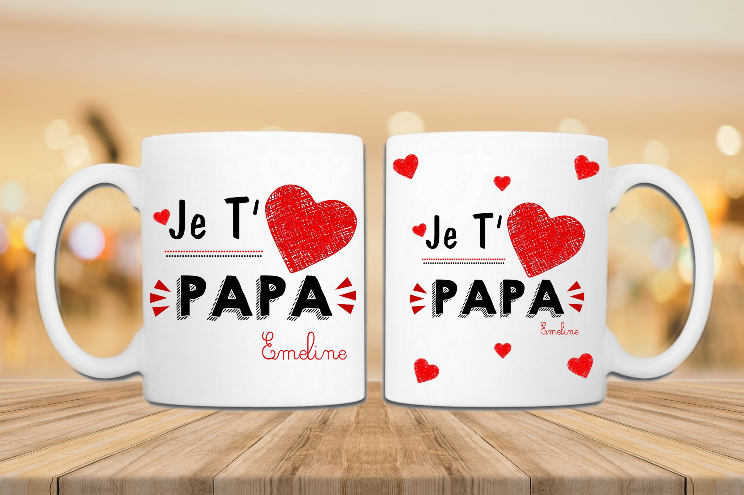 mug je t'aime papa personnalisé