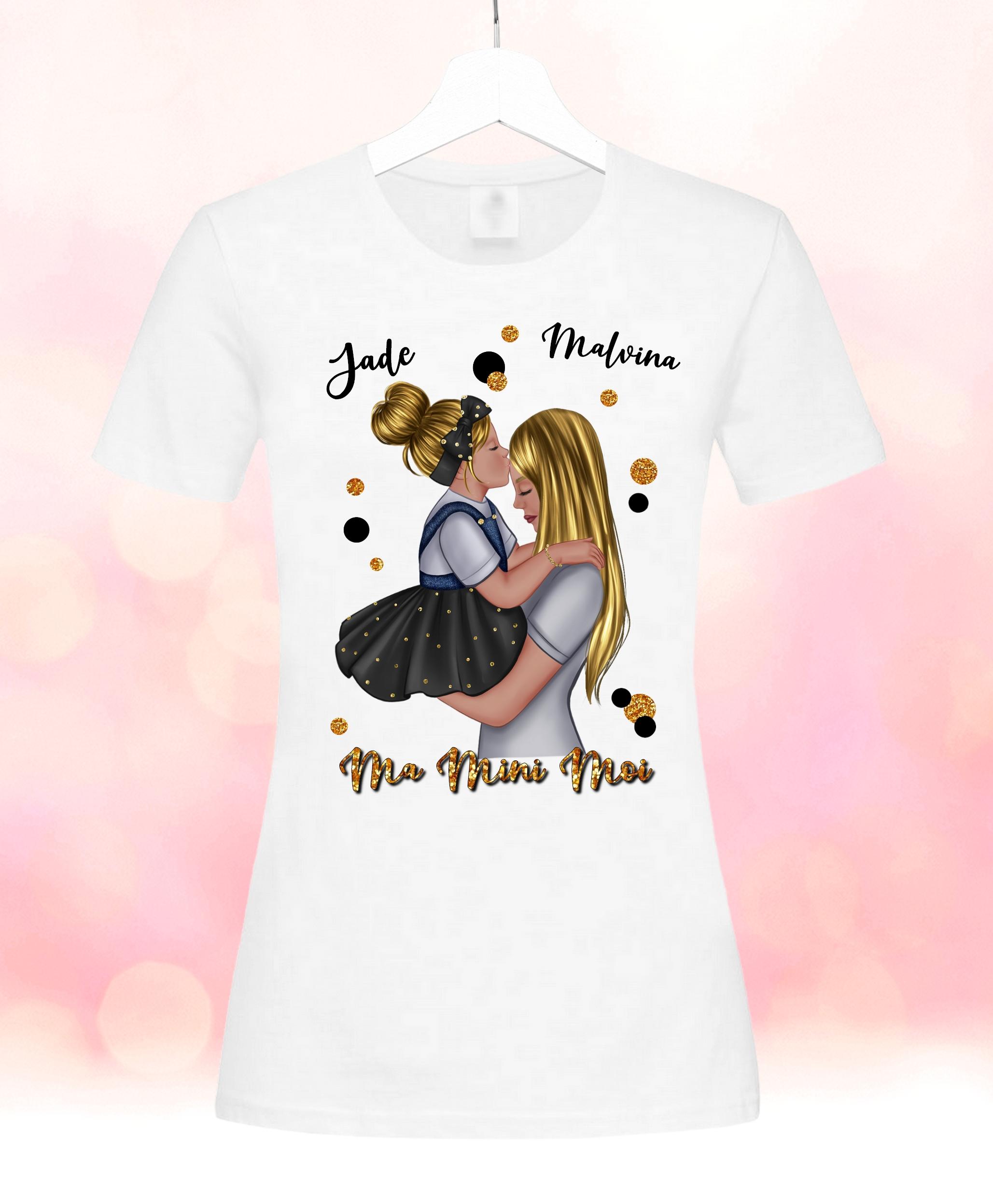 Tee shirt femme Maman et sa fille personnalisé avec prénoms et dessin au choix