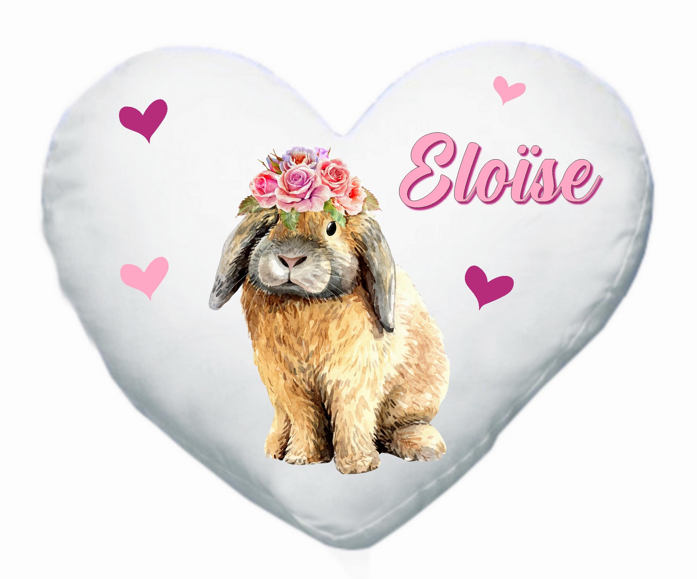 Coussin coeur Lapin personnalisé avec prénom