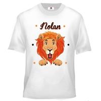 Tee shirt enfant Tête de lion personnalisé avec votre prénom