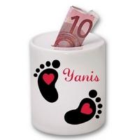 Tirelire céramique Bébé empreintes personnalisée avec prénom