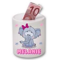 Tirelire céramique Bébé éléphant fille personnalisée avec prénom
