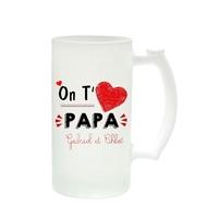 Chope à bière On t'aime papa personnalisée avec prénoms en signature