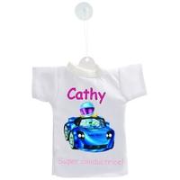 Mini tee shirt ventouse Super conductrice personnalisé avec prénom