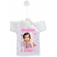 Mini tee shirt voiture Bébé à bord Fille personnalisé avec votre photo