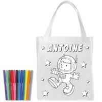 Sac shopping cabas Astronaute A Colorier personnalisé avec prénom
