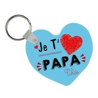 Porte-clés coeur Je t'aime papa personnalisé avec prénom en signature