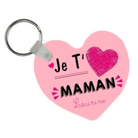 Porte-clés coeur Je t'aime maman personnalisé avec prénom en signature