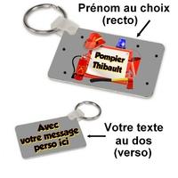 Porte-clés rectangle Pompier personnalisé avec prénom et message au dos