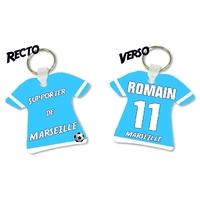 Porte clés Maillot de foot MARSEILLE personnalisé avec prénom et numéro