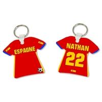 Porte clés Maillot de foot Espagne personnalisé avec prénom et numéro
