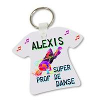 Porte clés T-shirt Super prof de danse homme Hip hop personnalisé avec prénom