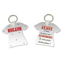 Porte clés T-shirt humour Avant j'étais un jeune con personnalisé avec prénom