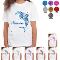Tee shirt enfant paillettes Dauphin personnalisé avec prénom