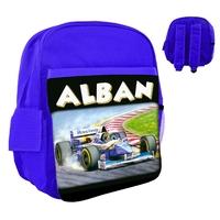 Sac à dos rose/bleu/rouge enfant Formule 1 personnalisé avec le prénom de votre choix