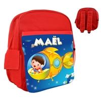 Sac à dos rose/bleu/rouge enfant Dans l'espace personnalisé avec le prénom de votre choix
