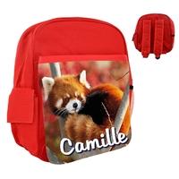 Sac à dos rose/bleu/rouge enfant Panda roux personnalisé avec le prénom de votre choix