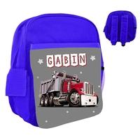 Sac à dos rose/bleu/rouge enfant Camion personnalisé avec le prénom de votre choix