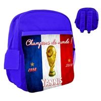 Sac à dos rose/bleu/rouge enfant France foot Champions du monde personnalisé avec prénom