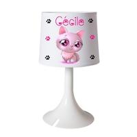 Lampe de chevet ou de bureau Chat beauté personnalisée avec prénom