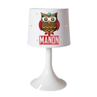 Lampe de chevet ou de bureau Chouette Owl personnalisée avec prénom