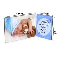Cadre photo double Bébé garçon personnalisé avec votre photo et votre texte