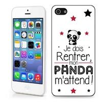 Coque iphone 4/4S 5/5S 6, 7, 8, X, XS, XR ou SE Humour Je dois rentrer mon panda m'attend !