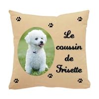 Coussin pour chien Bichon personnalisé avec le nom de votre animal