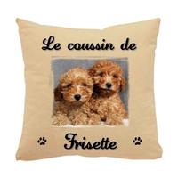 Coussin pour chien Caniche personnalisé avec le nom de votre animal