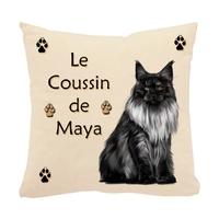 Coussin écru pour chat Main coon personnalisé avec prénom