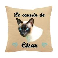 Coussin pour chat Siamois personnalisé avec le nom de votre animal