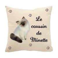 Coussin pour chat Birmanie personnalisé avec le nom de votre animal