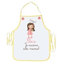 Tablier enfant Je cuisine avec mamie personnalisé avec prénom